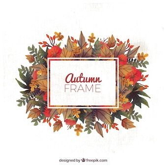 Cute frame with autumn leaves