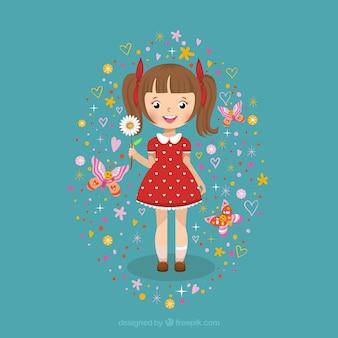 Cute girl with a daisy