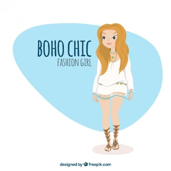 Cute girl with stylish boho clothes
