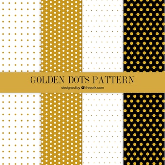 Cute golden dots pattern collection