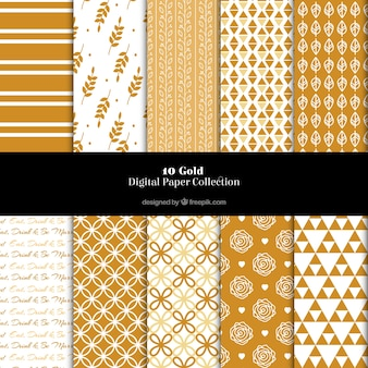 Cute golden patterns with abstract shapes