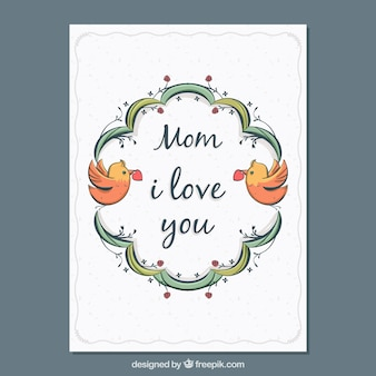 Cute greeting card with birds for mother's day