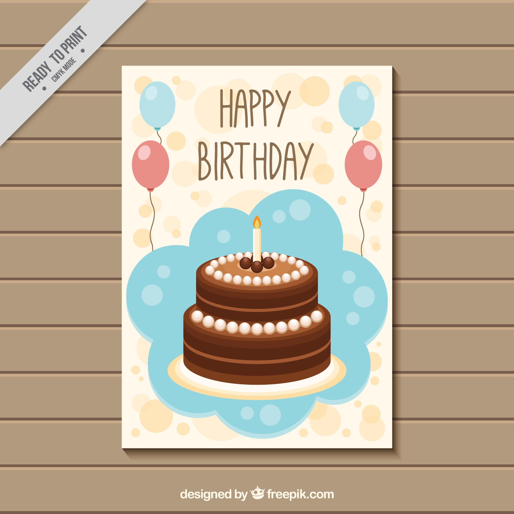 Cute greeting card with birthday cake and balloons
