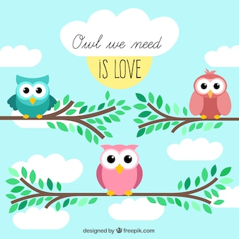 Cute greeting card with owls