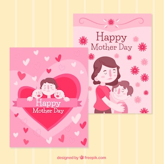 Cute greeting cards in pink tones for mother's day
