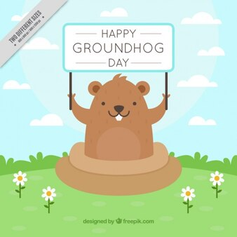 Cute groundhog day background