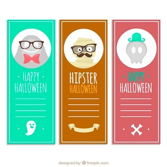 Cute halloween banners in hipster style