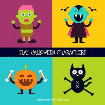 Cute halloween characters set in flat design