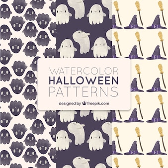 Cute halloween watercolor patterns