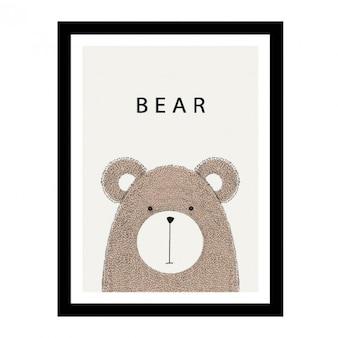 かわいい手描きクマのデザイン