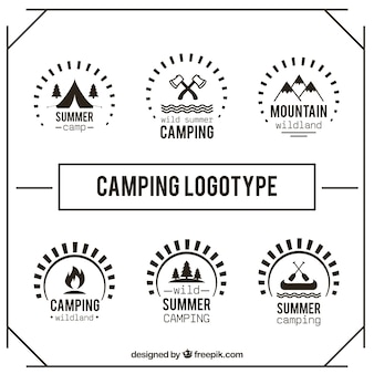 Cute hand drawn camping logotype set