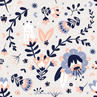 Cute hand drawn leaves and flowers pattern