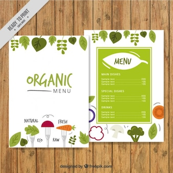 Cute hand drawn organic menu