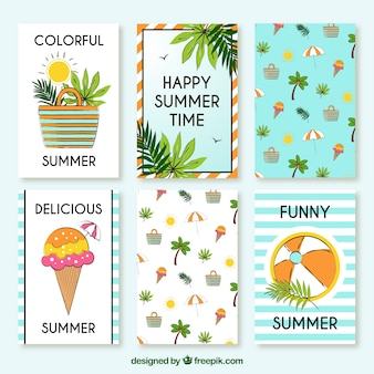 Cute hand drawn summer cards with elements