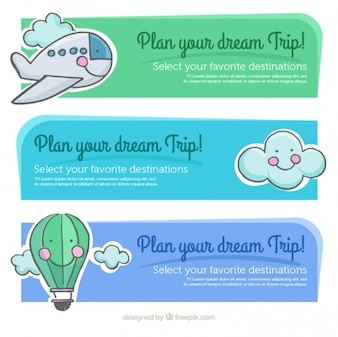 Cute hand drawn travel banners
