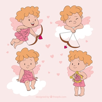 Cute hand drawn valentine angel