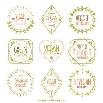 Cute hand drawn vegan logos