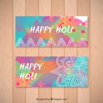 Cute hand painted Happy Holi banners