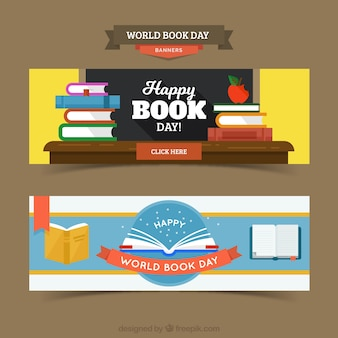 Cute happy book day banners