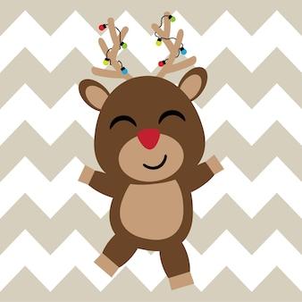 Cute happy reindeer background