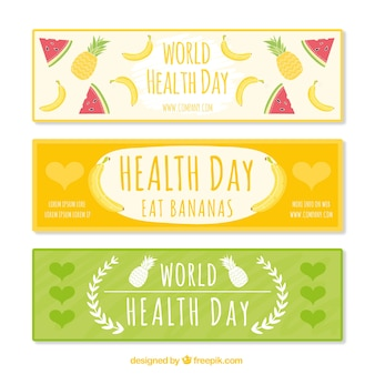 Cute health day banners