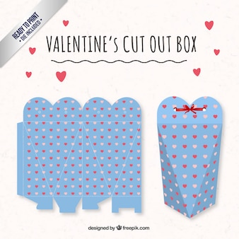 Cute heart valentines day box in blue color