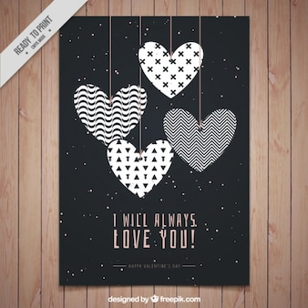 Cute hearts card with abstract design