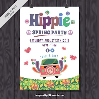 Cute hippie spring party poster