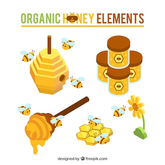 Cute honey objects with bees in isometric style