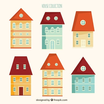 Cute house facades in flat design
