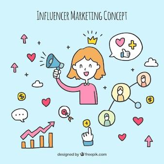 Cute influencer marketing concept