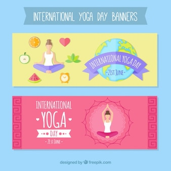 Cute international yoga day banners