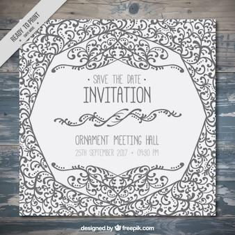 Cute invitation with hand drawn ornaments