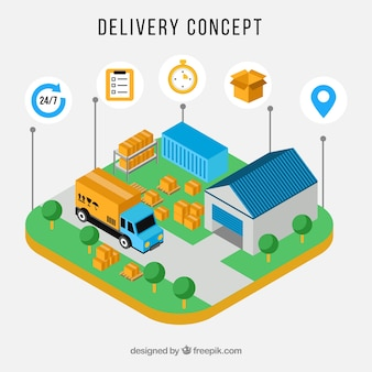 Cute isometric delivery concept