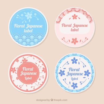 Cute japanese labels with flowers
