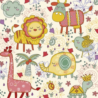 Cute jungle animals background