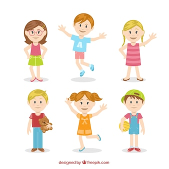 Cute kids illustration in colorful style
