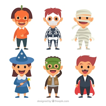 Cute kids ready for halloween