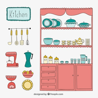 Cute kitchen in hand drawn style