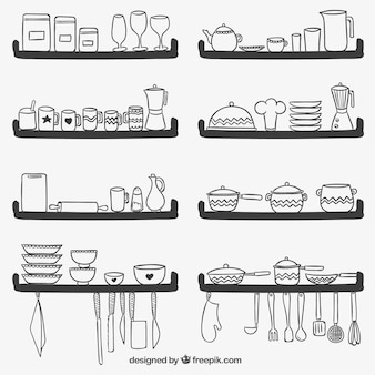 Cute kitchen utensils on shelves