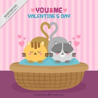 かわいい子猫のバレンタインの背景