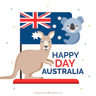 Cute koala and kangaroo to celebrate australia day