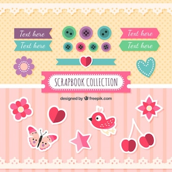 Cute labels and decorative things for scrapbooking