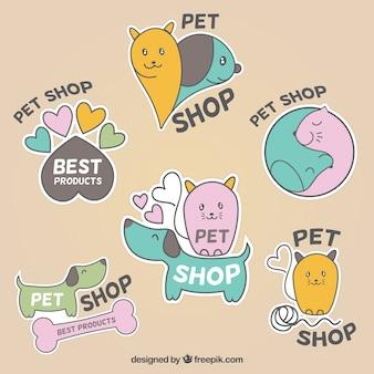 Cute labels for pet shop