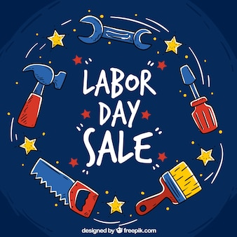 Cute labor day background with tools