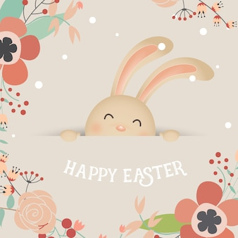 Cute laughing easter bunny with flowers