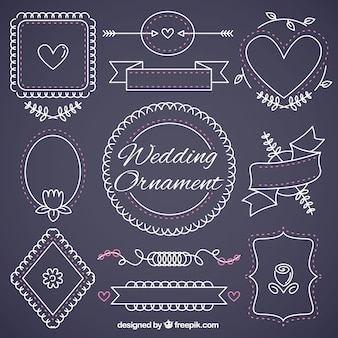 Cute lineal wedding ornaments