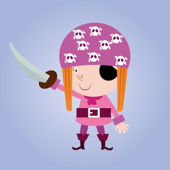 Cute little pirate girls sea woman robber cartoon character