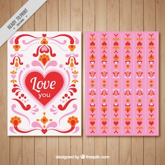 Cute love with heart and ornaments