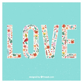 Cute love word with colored flowers